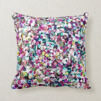 Girly Rainbow Faux Sequins Bling Throw Pillow