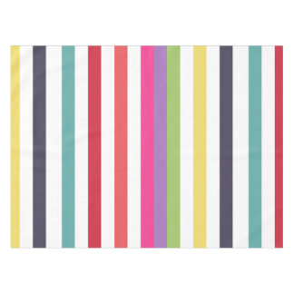 Girly Rainbow Wide Horizontal Stripes Pattern Tablecloth