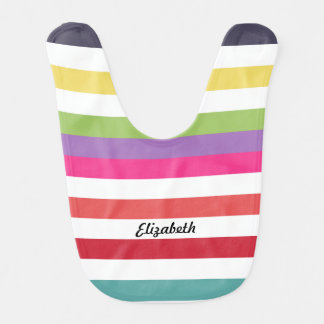 Girly Rainbow Wide Horizontal Stripes With Name Baby Bibs