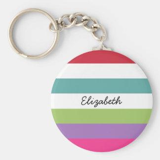 Girly Rainbow Wide Horizontal Stripes With Name Basic Round Button Keychain