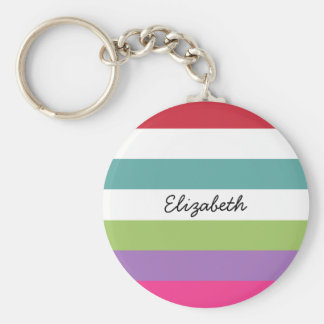 Girly Rainbow Wide Horizontal Stripes With Name Key Chain
