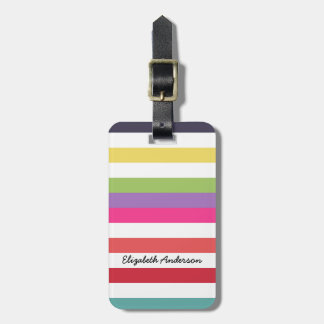 Girly Rainbow Wide Horizontal Stripes With Name Luggage Tag