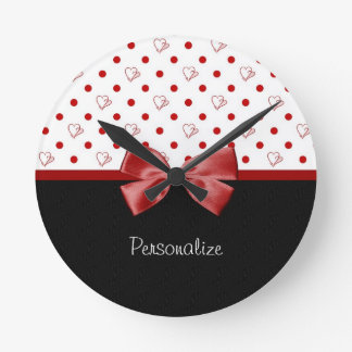 Girly Red and Black Polka Dot Hearts Bow With Name Clock