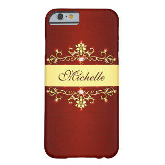 Girly Red and Gold Barely There iPhone 6 Case
