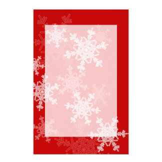 Girly red and white Christmas snowflakes Customized Stationery