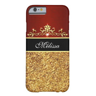 Girly Red Black Gold Glitter iPhone 6 Case