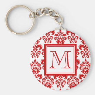 GIRLY RED DAMASK PATTERN 2 YOUR INITIAL BASIC ROUND BUTTON KEYCHAIN