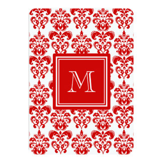 GIRLY RED DAMASK PATTERN 2 YOUR INITIAL 5X7 PAPER INVITATION CARD