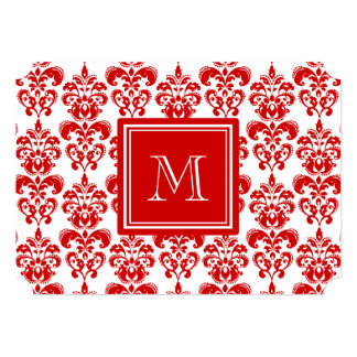 """GIRLY RED DAMASK PATTERN 2 YOUR INITIAL 5"""" X 7"""" INVITATION CARD"""