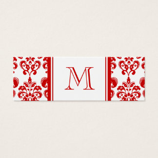 GIRLY RED DAMASK PATTERN 2 YOUR INITIAL MINI BUSINESS CARD