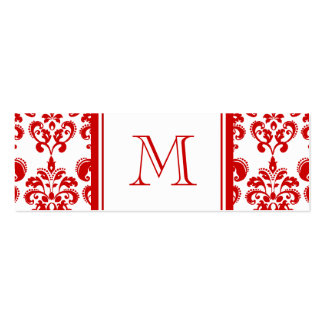 GIRLY RED DAMASK PATTERN 2 YOUR INITIAL PACK OF SKINNY BUSINESS CARDS
