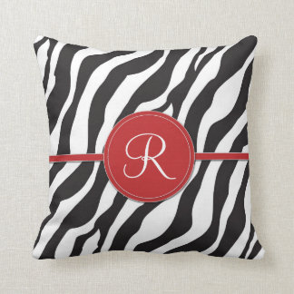 Girly Red Monogram Zebra Print Throw Pillow