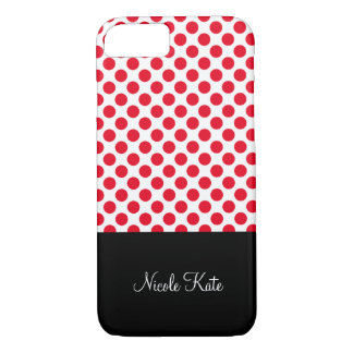 Girly Red Polka Dots Monogram iPhone 7 Case