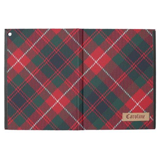 """Girly Red Royal Stewart Tartan Pattern Custom Name iPad Pro 12.9"""" Case"""