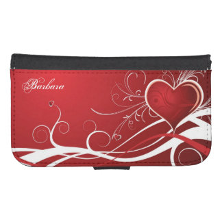 Girly Red & White Abstract Heart And Floral Swirls Phone Wallet