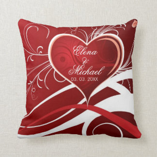 Girly Red & White Abstract Heart And Floral Swirls Throw Pillow