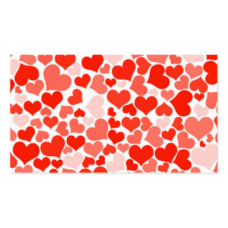 Girly Red White Love Hearts Trendy Pattern Business Card Template