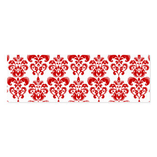 Girly Red White Vintage Damask Pattern 2 Mini Business Card