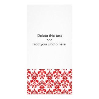 Girly Red White Vintage Damask Pattern 2 Photo Cards