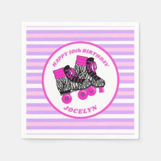 Girly Roller Skate Birthday Napkin