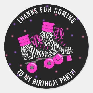 Girly Roller Skate Birthday Thank You Classic Round Sticker