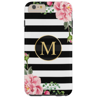 Girly Romantic Floral Black White Stripes Monogram Tough iPhone 6 Plus Case