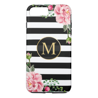Girly Romantic Flower Black White Stripes Monogram iPhone 7 Plus Case