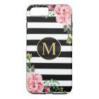 Girly Romantic Flower Black White Stripes Monogram iPhone 8 Plus/7 Plus Case