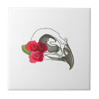 GIRLY ROMANTIC RED ROSES WITH BIRD SKULL CERAMIC TILES