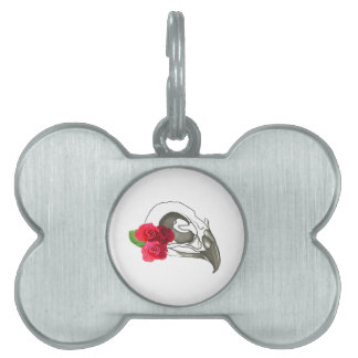GIRLY ROMANTIC RED ROSES WITH BIRD SKULL PET TAGS