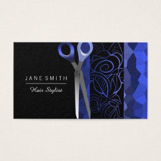 Girly rose blue & black scissor design business card