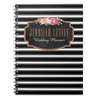 Girly Rose Gold B&W Stripes | Your Name Monogram Spiral Notebooks