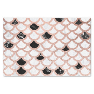 Girly rose gold black white marble scallop pattern tissue paper
