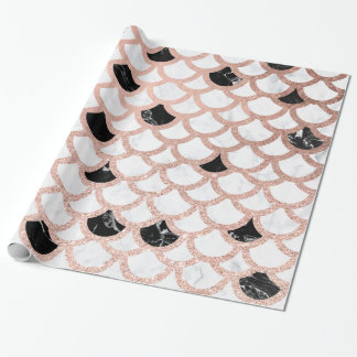 Girly rose gold black white marble scallop pattern wrapping paper