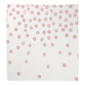 girly rose gold glitter confetti polka dots bandana