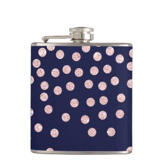 girly rose gold glitter confetti polka dots hip flask
