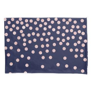 girly rose gold glitter confetti polka dots pillowcase