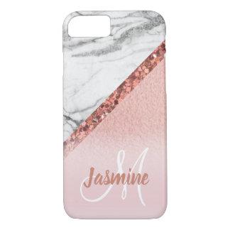 Girly Rose Gold Glitter Gray Marble Monogram iPhone 8/7 Case