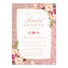 Girly Rose Gold Glitter Pink Floral Bridal Shower Card