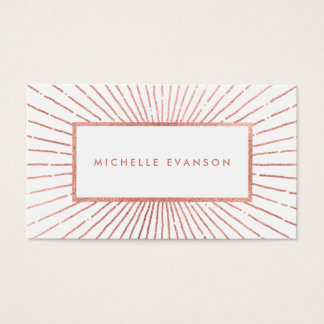 Girly Rose Gold Sunburst Modern Professional Business Card