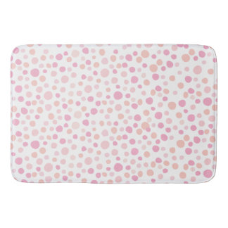 Girly Rose Pink Polka Dots Bath Mat