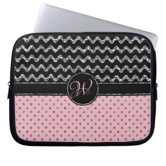 Girly Rose Silver Glitter Black Chevron Monogramme Laptop Sleeve