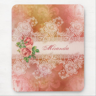 Girly Roses and Lace Personalized Mousepad