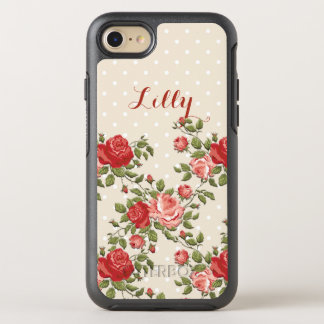 Girly Roses and Polka Dots OtterBox Symmetry iPhone 7 Case