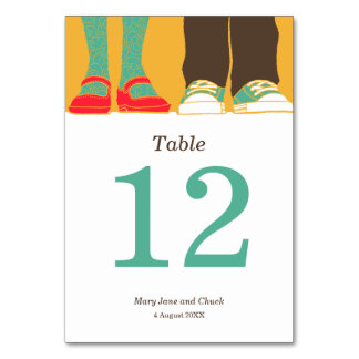 Girly Shoes & Sneakers Illustrated Wedding Yellow Table Cards