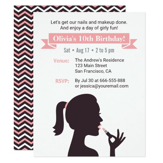 Girly Silhouette Makeup Birthday Party Invitations