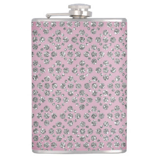 Girly Silver Dots Custom Mauve/Purple Flask