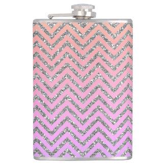 Girly Silver & Pink Chevron Custom Teal Flask