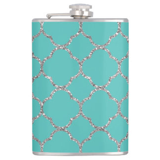 Girly Silver Quatrefoil Custom Teal Flask