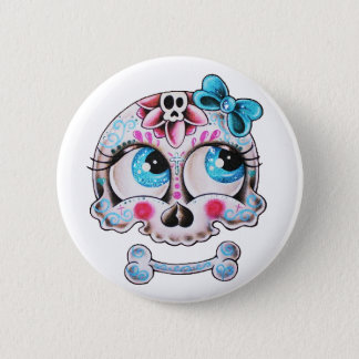 Girly skull 2 inch round button